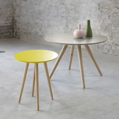 Table basse ronde bicolore / bout de canapé PIN'S - 3 Suisses