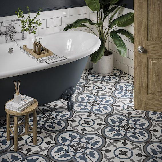 Sorolla Feature Floor Tile 25 X 25cm Patterned Bathroom Tiles Bathroom Interior Design Blue Bathroom Tile New top ceramic bathroom floor