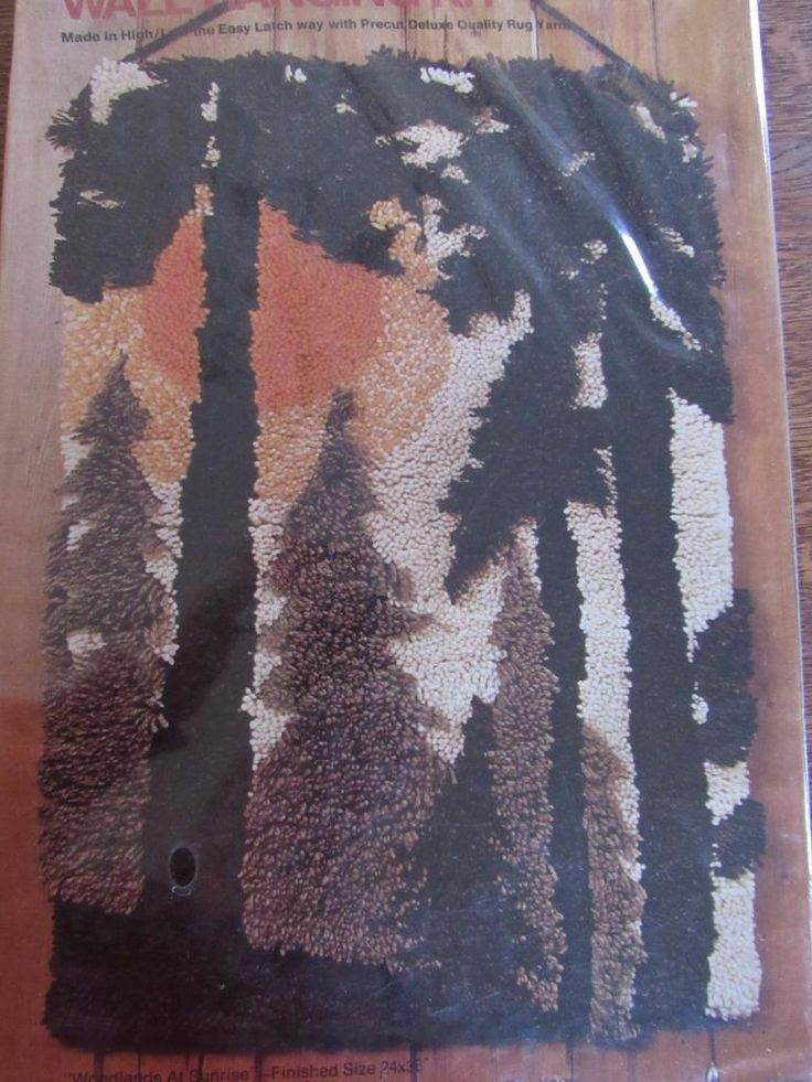 "SEALED Vintage 1970s BUCILLA Latch Hook Rug Kit 24x36"" WOODLANDS AT SUNRISE 