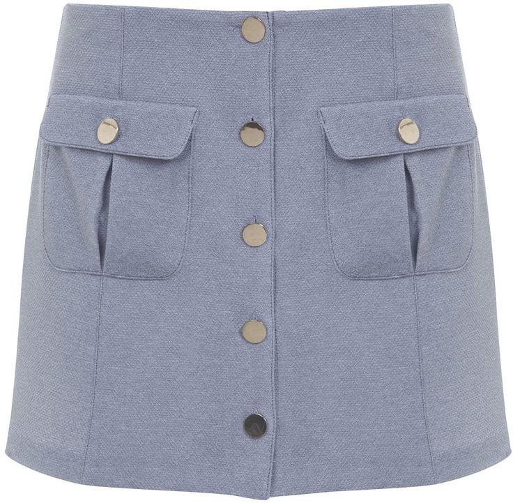 Womens light blue grey button mini skirt, pale blue from Miss Selfridge - £35 at ClothingByColour.com