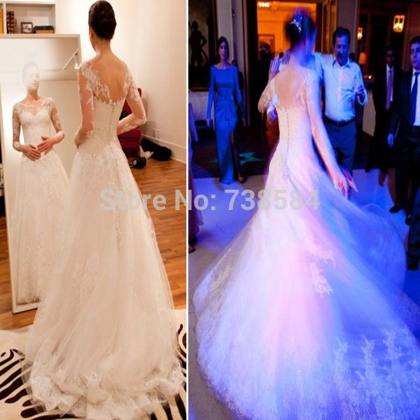 Find More Wedding Dresses Information about Free Shipping Vestidos De Casamento Praia Fulled Sleeve Lace Appliqued Wedding Dress,High Quality Wedding Dresses from 100% Love Wedding Dress & Evening Dress Factory on Aliexpress.com