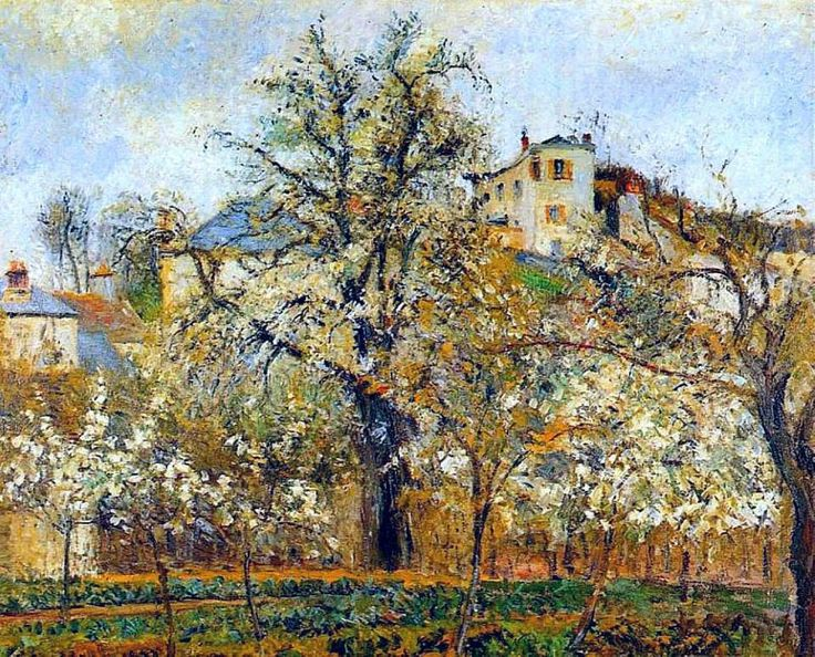 Garden and trees in blossom, spring, Pointoise, Camille Pissarro, 1887 (oil on canvas, 63 x 81 cm)