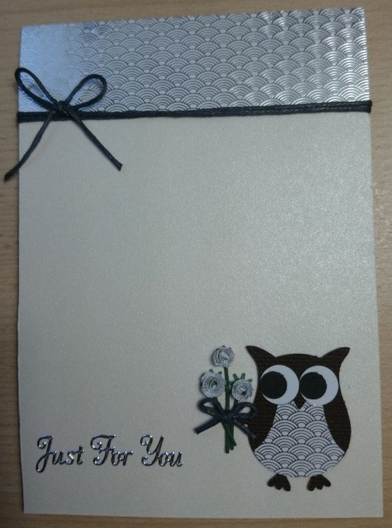 """Stampin UP cute handmade """"Just For You"""" card featuring an owl holding a bunch of flowers - 2 colour options  http://www.etsy.com/uk/shop/SarahLouCards"""
