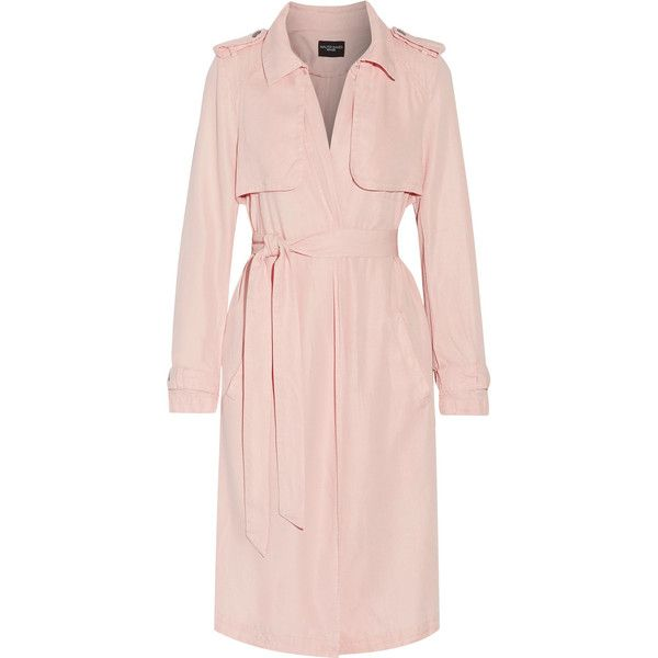 W118 by Walter Baker - Marley Twill Trench Coat ($99) ❤ liked on Polyvore featuring outerwear, coats, blush, pastel coat, trench coat, twill trench coat, pink trench coat and pastel pink coat