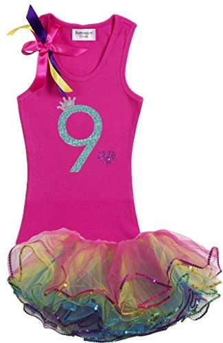 6298153e66f1c Bubblegum Divas Big Girls' 9th Birthday Rainbow Tutu Outfit | Dinner ...