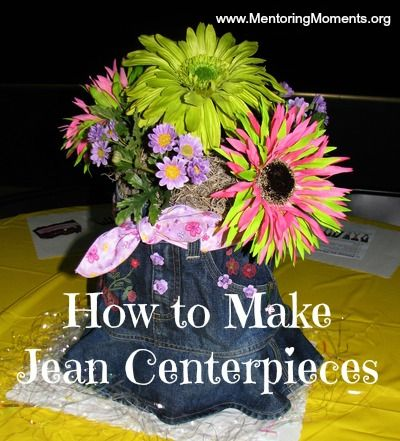 Jean centerpieces divas in denim centerpieces for Denim centerpieces