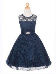 Navy Lovely Pleated Lace Flower Girl Dress (Available in Sizes Infant-16 in 8 Colors)