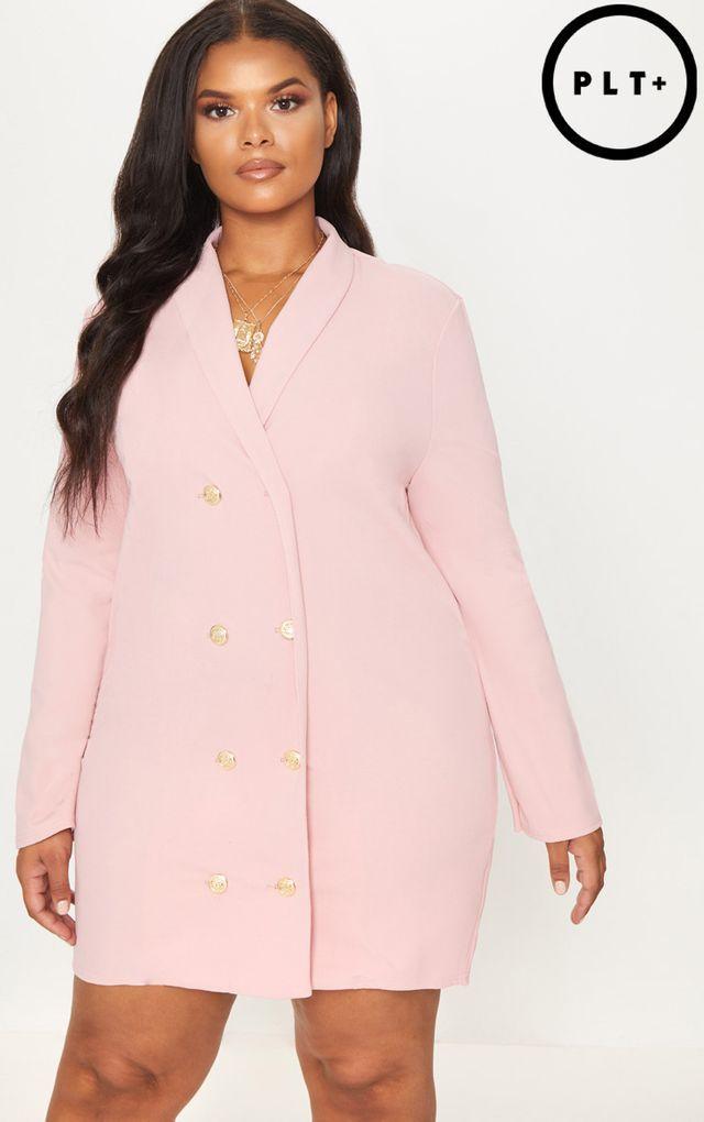 Plus Dusty Pink Gold Button Oversized Blazer Dress | plus ...