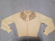 vintage women's sweater Isabel of Saks Fifth Avenue cashmere heavily beaded!!