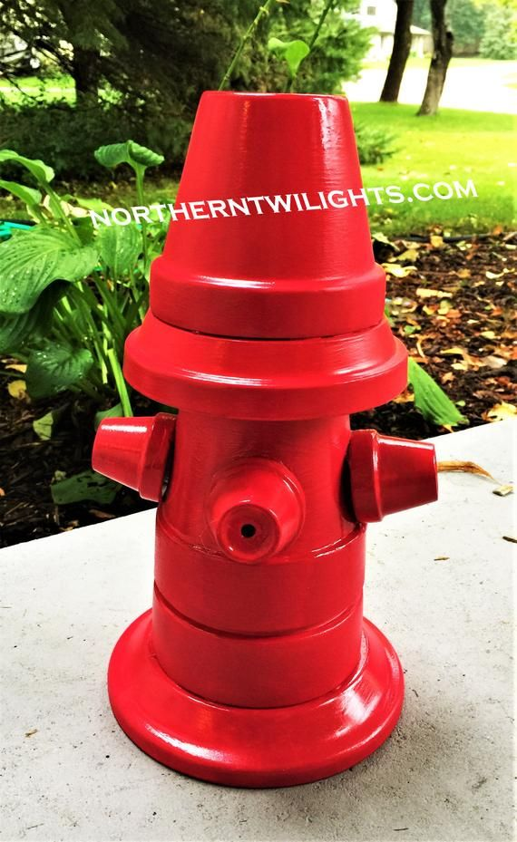 Red Fire Hydrant Fireman Flower Pot Head People Terra Cotta Planter In Door Decor Outdoor Decor Garden Clay Pot Gift Clay Flower Pots Terra Cotta Pot Crafts Diy Clay Pot Projects