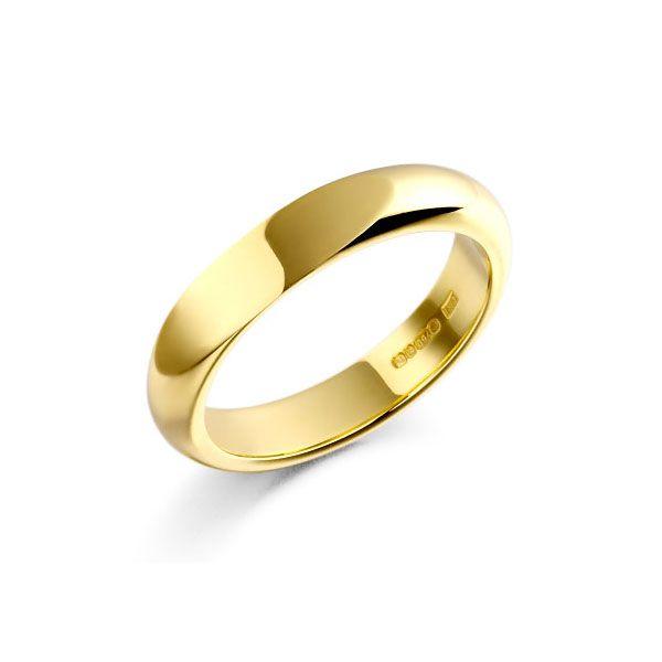 A classic elegant 18-carat gold 'D' shaped wedding ring