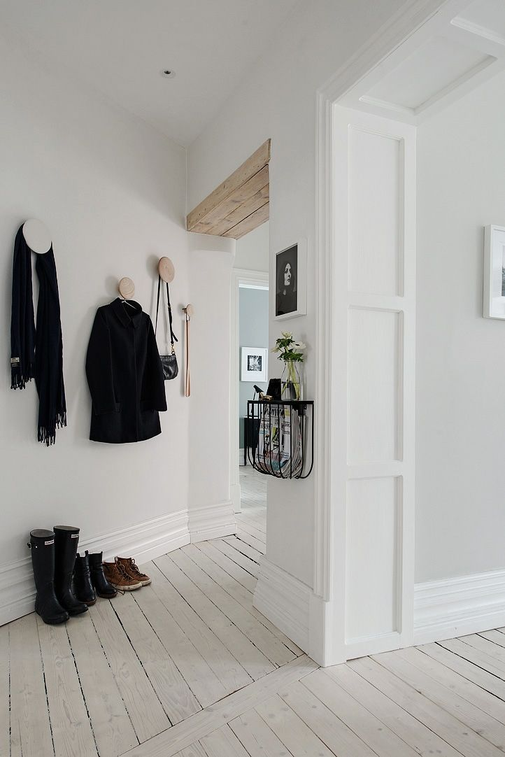 white & bright entrance - wooden floors