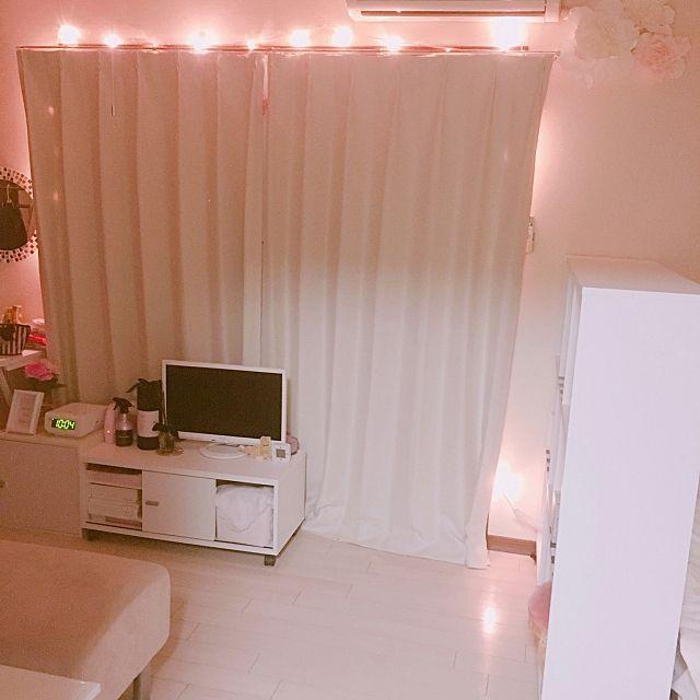 部屋全体 白い床 ドレッサー イルミネーションライト フェアリーライト などのインテリア実例 2017 05 21 22 21 10 Roomclip ルームクリップ 白い床 インテリア 実例 インテリア