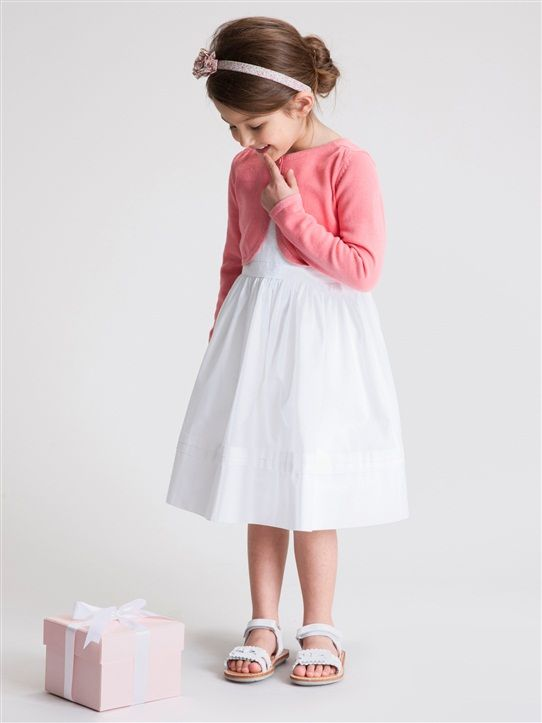 GIRLS' CEREMONY CARDIGAN CORAL+PALE PINK+WHITE