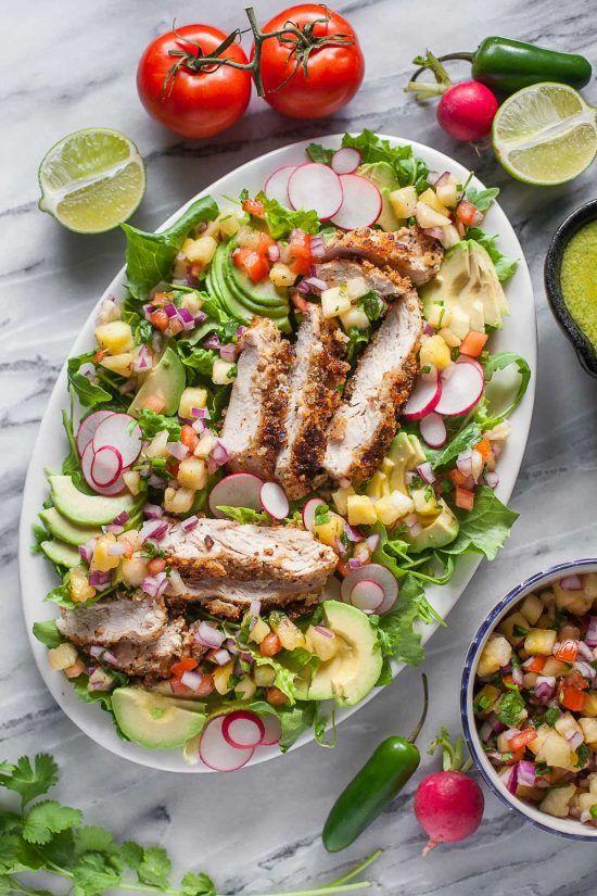 Crispy Chicken Salad with Pineapple Pico de Gallo (Paleo, Whole30)