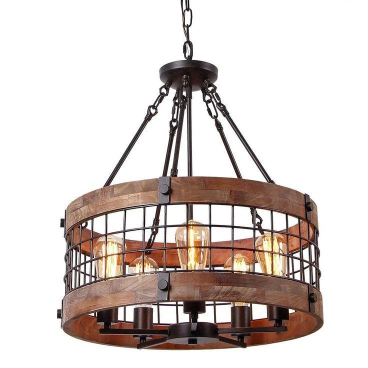 Farmhouse Wood Circular Chandelier Black Metal Cage 5 Light Exposed Bulbs Chandeliers Ceiling Lights Lighting Aydinlatma Elemanlari Aydinlatmalar Avize