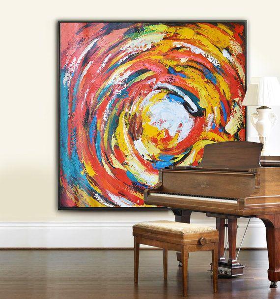 Large Modern Art Contemporary Painting, Handmade Original Art, Acrylic Painting, red, green, orange, yellow, etc.