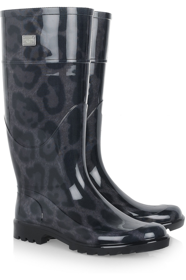 or would you rather have 30% discount on this pair? - Dolce & Gabbana | Animal-print patent-rubber rain boots | NET-A-PORTER.COM