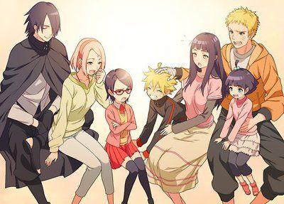 Naruto, Hinata, Sasuke, Sakura, and their children!!! So cute; That's a family I want to have
