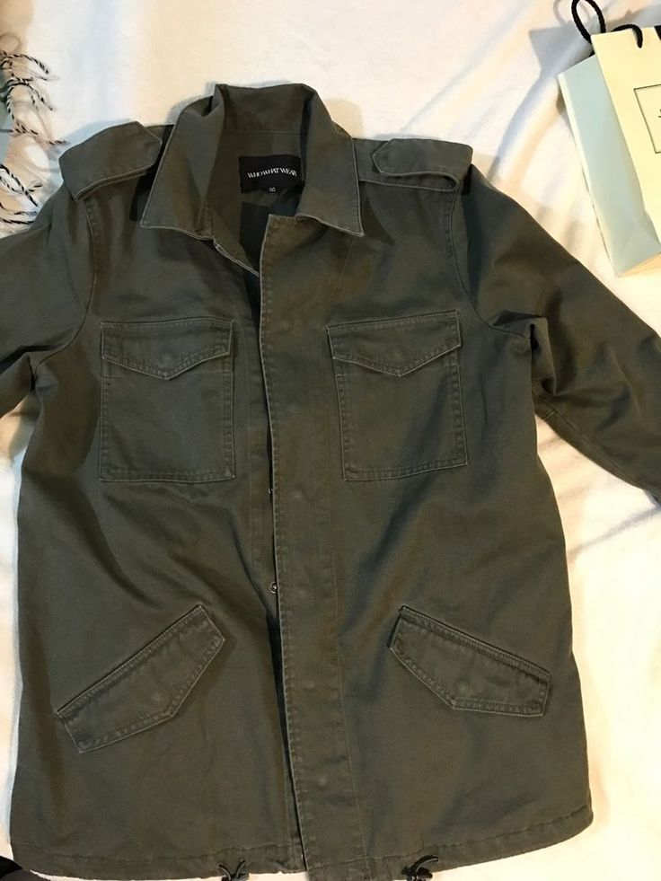 Who What Wear Army Green Cotton Utility Jacket Women Medium #WhoWhatWear #Military