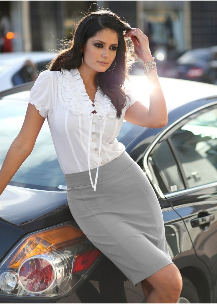 White blouse & gray pencil skirt    Perfect outfit! <3