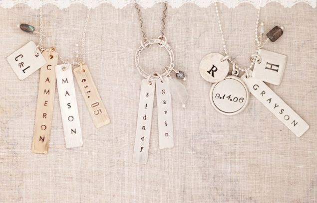 Personalized Hand Stamped Jewelry | Handmade Gold Custom Name Necklace Design  - Three Sisters Jewelry Design #hand_stamped_charms #jewelry #stamped_necklaces