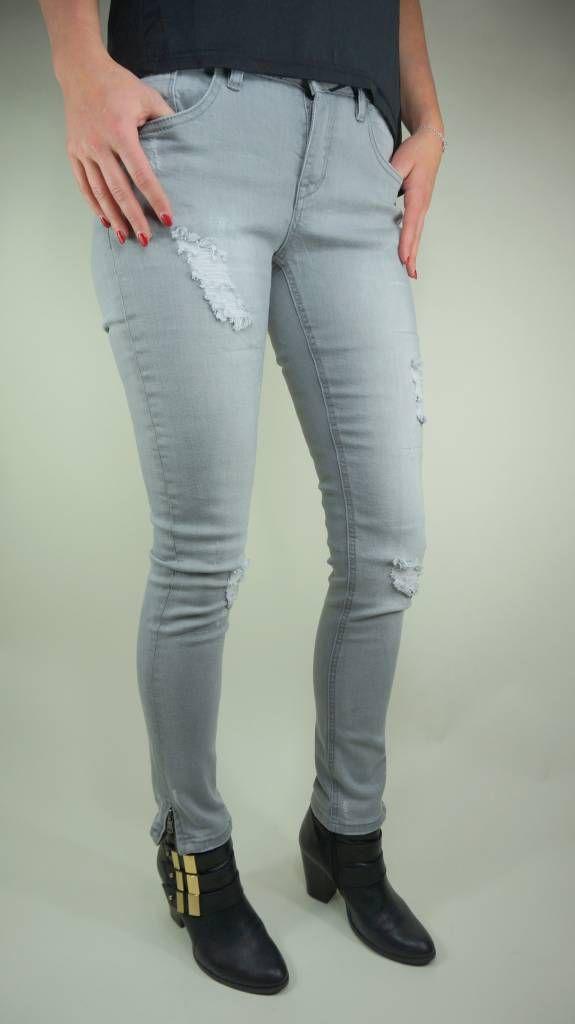 Grijze jeans met versleten look