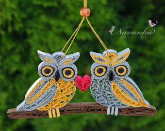 Owl always love you - This adorable Paper Quilling Owl is a wonderful gift for anyone. It can be hung on any dry branch or any room / office for decoration year round and as a reminder of your friendship, love or simply for someone who loves owls. The unique ornament is our original design and is handmade using paper quilling technique. Acid free card-stock of about 1/4th inch has been used to create this Owl ornament. The strips are hand cut and crimped to create the special e...