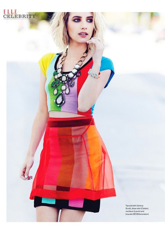 emma roberts 2014 2 Emma Roberts Gets Colorful for Elle Canada Shoot by Max Abadian