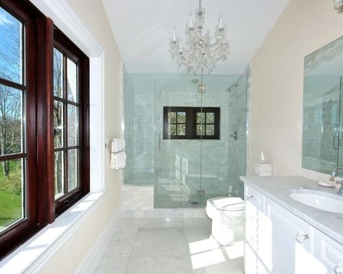 Traditional white vanity long and narrow bathroom designs