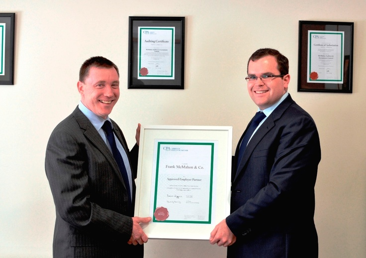 Cathal McNamara from CPA Ireland is pictured here presenting the AEP certificate to Frank McMahon, from Frank McMahon & Associates.