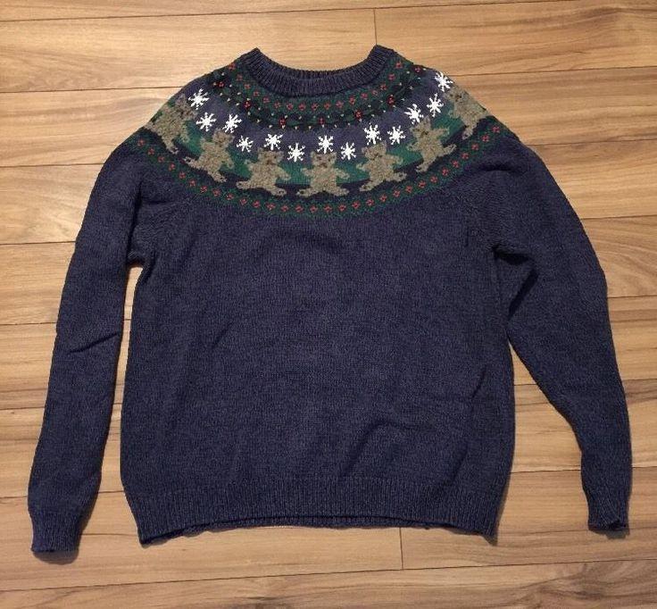 Vintage Christmas Sweater Cotton Snowflake Teddy Bears XL    eBay