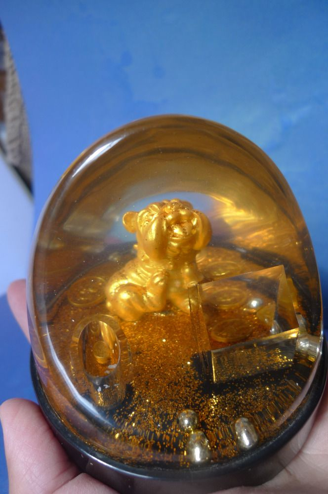 Vintage Bulldog Dog Puppy coins gold bead Desk Pen Holder Table Desktop Decor