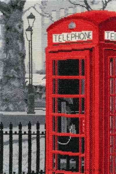 London Telephone - London Scenes - DMC Cross Stitch Kit
