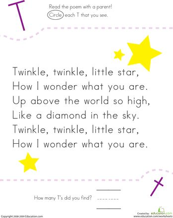 Worksheets: Find the Letter T: Twinkle, Twinkle, Little Star
