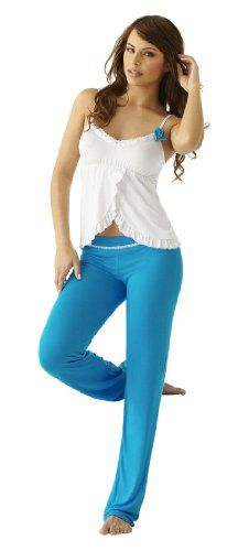 Amazon.com: Adriana Arango High Quality Vivid Blue Pajama Pant SET 7486 Made in Colombia: Clothing