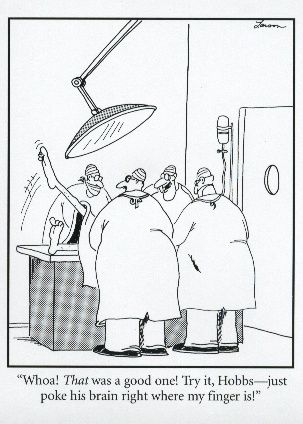 Gary Larson, The Far Side. I am CRYING with laughter right now.