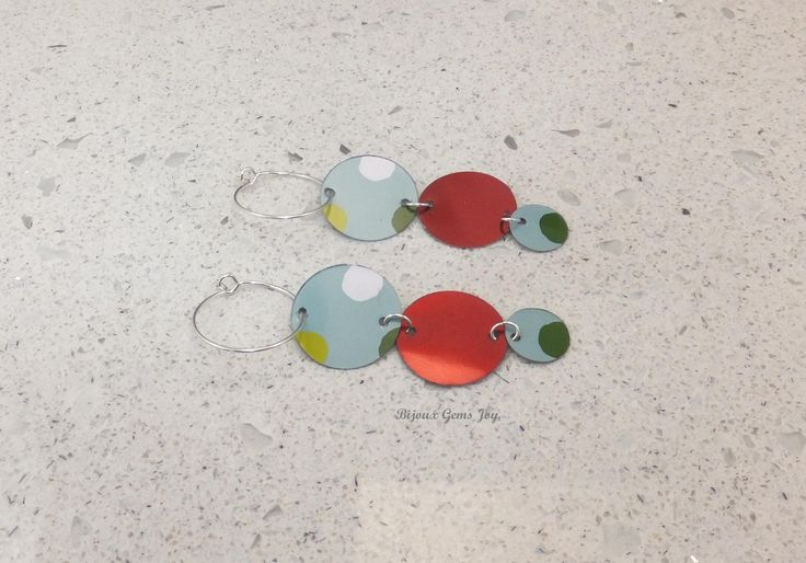 Triple Decked Earrings, Tin, Silver Plated Wires by BijouxGemsJoy on Etsy