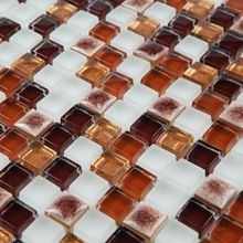 Brun four à porcelaine en céramique mixte cristal verre et pierre de mosaïque de HMCM1051 cuisine backsplashl salle de bain plancher mur en céramique(China (Mainland))