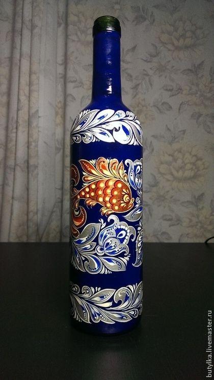 ручная работа Стеклянная бутылка, ручная роспись.. Handmade.