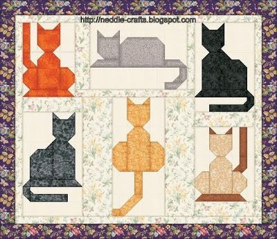 simple appliqued cat shapes quilt  - باترونات وحدات باتشوورك-patchwork units patterns ~ شغل ابره NEEDLE CRAFTS