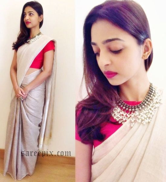 """Actress Radhika Apte in Anavila saree at I View world festival. The """"Kabali"""" actress looks beautiful in pastel saree with red blouse."""