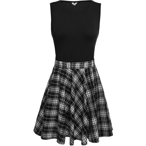 Meaneor Women's Sleeveless Vintage Plaid Patchwork Fit and Flare... ($26) ❤ liked on Polyvore featuring dresses, sleeveless a line dress, black and white vintage dress, tartan dress, vintage dresses and fit and flare dress