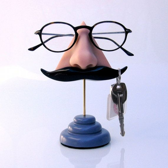 Nose Eyeglasses Holder, Key Hook Mustache, Father's day, Geeky Eyewear stand, Men Accessories, Unusual, Funny auf Etsy, 31,05€