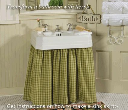 Use the plaid curtain for sink skirt...love this idea