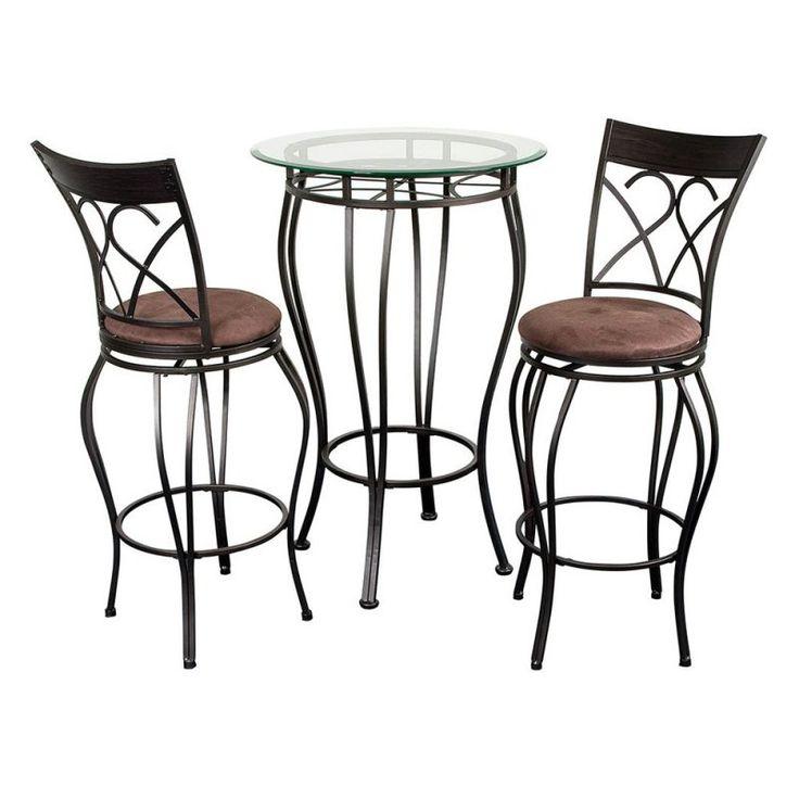 Fancy Glass Top 3 Piece Pub Table Set - FANCY BISTRO