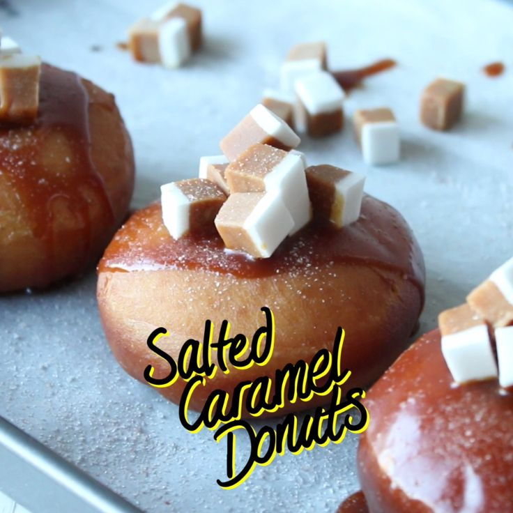 Donuts from scratch with a salted caramel centre, salted caramel drizzle and caramel candy. Finished off with a sprinkle of pink sea salt.