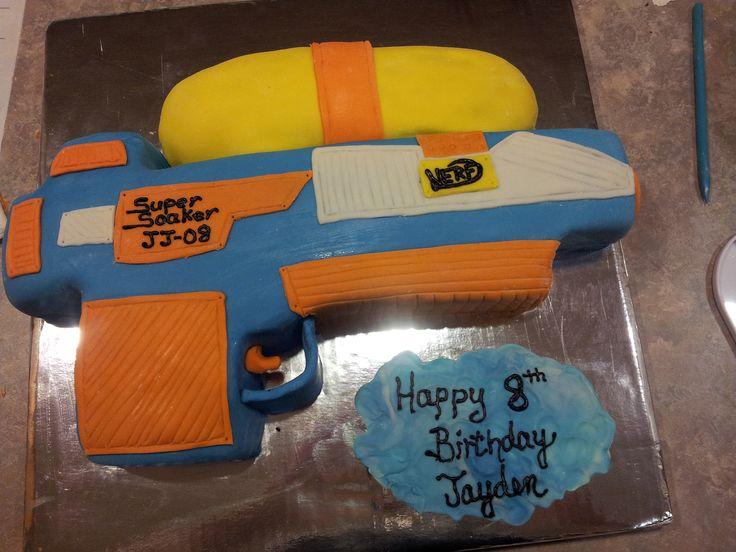 What's better than having a NERF water gun fight??? Eating a NERF water gun cake!