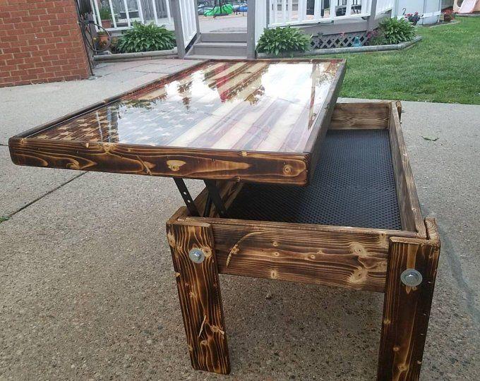 Wood Inlay American Flag Coffee Table Wood Table Diy Coffee