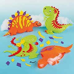 Dinosaur fans will enjoy making these! Each kit includes pre-cut felt shapes, self-adhesive felt pieces, wiggle-eye, plastic needle, yarn, stuffing and instructions.